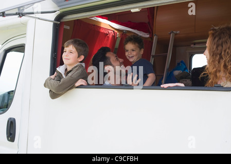 Family in motor home - Stock Photo