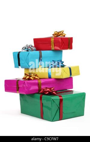 Christmas gift boxes isolated on white. - Stock Photo