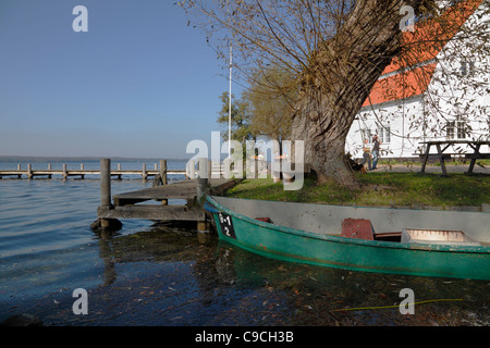 Skipperkroen - The Skipper Inn - at Esrum Lake in the town Fredensborg, Denmark, close to the Royal Fredensborg - Stock Photo