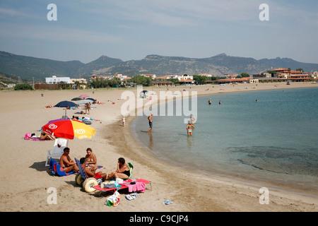 The beach in Bosa Marina, Sardinia, Italy. - Stock Photo