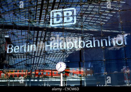 Front of Hauptbahnhof (central station) building in the German capital of Berlin. - Stock Photo
