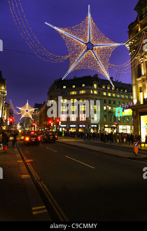 Christmas Lights Oxford Street (Circus) near the junction of Regents Street, WC1, London, England, 2011. - Stock Photo