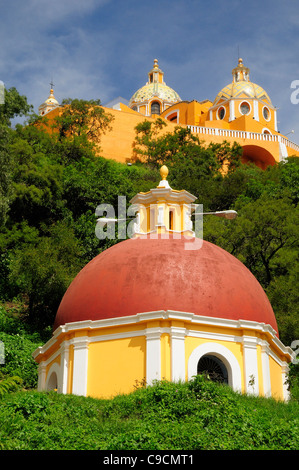 Mexico, Puebla, Cholula, Church of Neustra Senor de los Remedios on tree covered hillside above the pyramid ruins. - Stock Photo