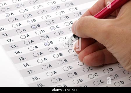 Customer service satisfaction survey or exam multiple choice - Stock Photo