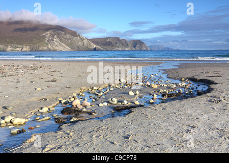 Keel Strand beach on Achill island, County Mayo, Ireland, with the Minaun cliffs in the distance - Stock Photo