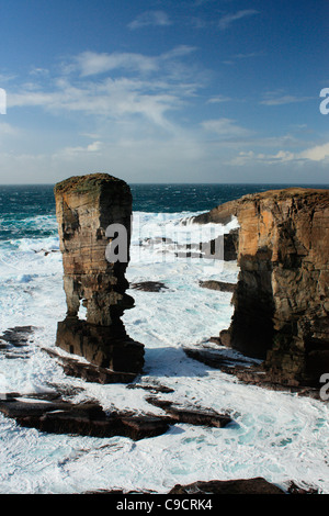 Yesnaby sea stack situated in the Orkney Islands - Stock Photo