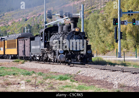 Durango and Silverton Narrow Gauge Railroad, with coal-fired steam engine trains. - Stock Photo