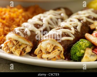 Chicken mole enchiladas - Stock Photo