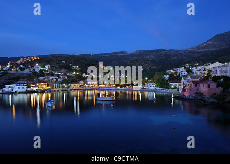 Assos (or 'Asos') one of the most beautiful villages of Kefalonia, on the north part of the island, at night. Ionian - Stock Photo