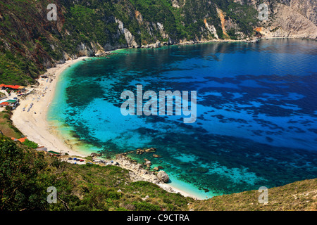 Panoramic view of Petanoi (or 'Petani') beach in Kefalonia island, Ionian Sea, Greece - Stock Photo