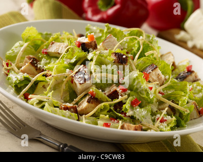 Grilled chicken caesar salad in a white bowl - Stock Photo