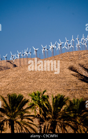 Windmills in the desert along Interstate 10 near Palm Springs Coachella Valley Southern California USA - Stock Photo
