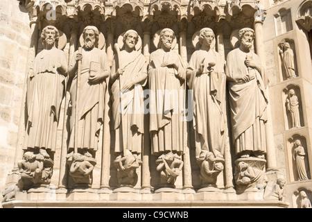 Apostles, Last Judgement portal, Notre-Dame, Paris [...] - Stock Photo
