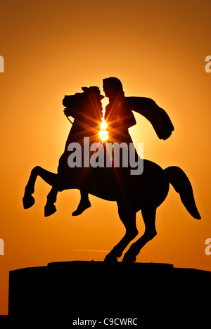 The statue of Alexander the Great at the New Promenade of Thessaloniki, around sunset. Macedonia, Greece - Stock Photo