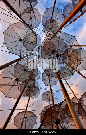 Greece, Thessaloniki.'The Umbrellas' , an artistic installation, by George Zoggolopoulos. - Stock Photo