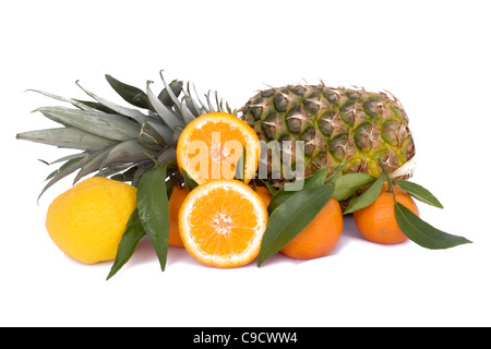 Mix of tropical fruits on white background. - Stock Photo