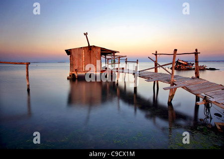Stilt hut in the Delta of Axios (also know as 'Vardaris') river, Thessaloniki, Macedonia, Greece - Stock Photo