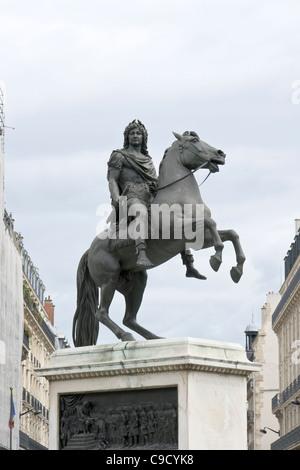 Equestrian monument, King Louis XIV, place des Victoires, Paris, France - Stock Photo