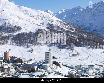 Italy, Piedmont, Sestriere village and ski resort (site of 2006 winter Olympics) - Stock Photo