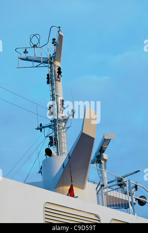 Radar mast of a modern ferry - Stock Photo