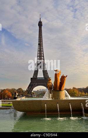 The Eiffel Tower from the Jardins de Trocadero, Paris, France. - Stock Photo