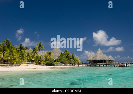 Tourist resort on the beach, Tikehau Pearl Beach Resort, Tikehau, Tuamotu Archipelago, French Polynesia - Stock Photo