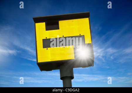 Speed camera flashing - Stock Photo