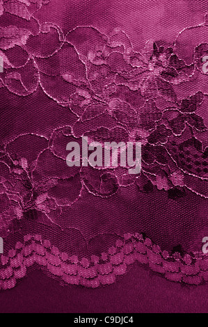 Luxury dark red vintage fabric with floral lace - Stock Photo
