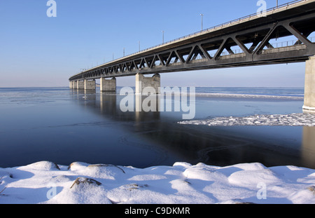 The link between Denmark and Sweden in shape of winter. - Stock Photo