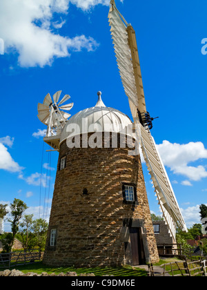 Heage Windmill  a six sailed eighteenth century mill in the Amber Valley Derbyshire England UK - Stock Photo