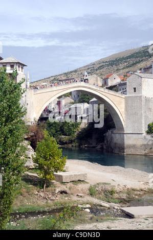 The 'Stari Most' (Old Bridge) over the River Neretva, in Mostar, Herzegovina-Neretva, Bosnia & Herzegovina - Stock Photo