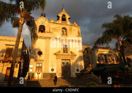 San Giovanni Battista Church in Aci Trezza, Sicily, Italy - Stock Photo