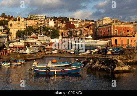 Boats in the little port of Acitrezza, Aci Trezza, Sicily, Italy - Stock Photo