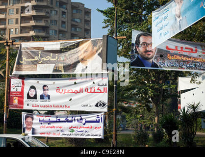 Posters of candidates up on election day 28th November 2011, Cairo, Egypt - Stock Photo