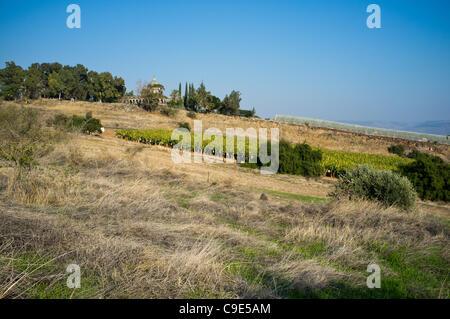 The church of Mount of Beatitudes is viewed from afar on a hill just north of Tabgha. Traditionally this is the - Stock Photo
