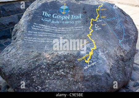 A rock at the entrance to Capernaum displays a map of the wanderings of Jesus from Nazareth to this location. Capernaum - Stock Photo