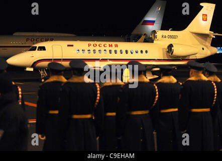 Russian president Dmitry Medvedev leaving Prague after official state call on Thursday, Dec 8, 2011. Medvedev has - Stock Photo