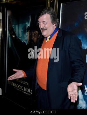 Stephen Fry attends the European Premiere of Sherlock Holmes: A Game of Shadows at The Empire, Leicester Square - Stock Photo