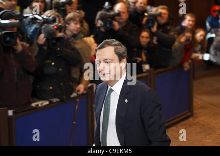 Mario Draghi, President of the European Central Bank at the European Council of Heads of State and Government. - Stock Photo