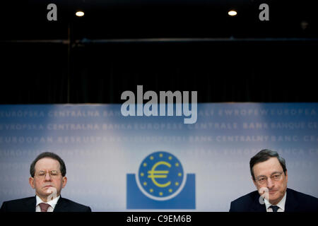 European Central Bank, Frankfurt, Germany. 08.12.2011 Picture shows Mario Draghi, President of the European Central - Stock Photo