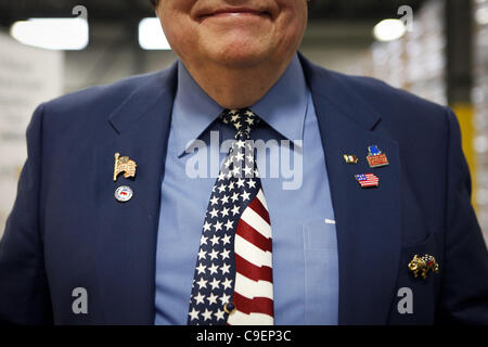 Dec. 9, 2011 - Cedar Rapids, Iowa, U.S. - BUZZ ANDERSON poses for a portrait wearing his American Flag tie and Iowa - Stock Photo