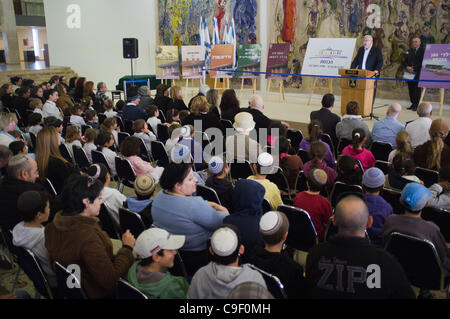 Speaker of the Knesset Reuven Rubi Rivlin addresses the audience at a ceremony inaugurating a new visitor center - Stock Photo