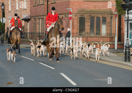 Cheshire Hunt meets in Tarporley High Street Cheshire on Boxing Day 2011 - Stock Photo