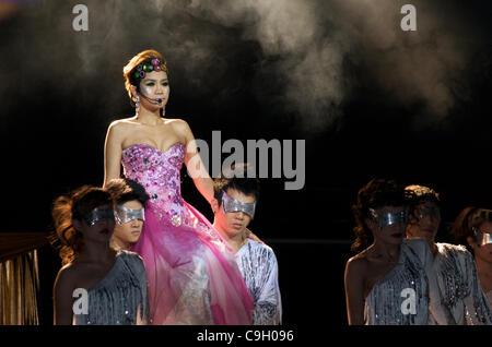 Modern dance keeps new years eve alive. Tawandang German microbrewery, Bangkok, Thailand , December 31st, 2011. - Stock Photo