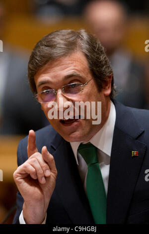 On the day that Eurostat announced the highest ever unemployment rate for Portugal (13,2%), Portuguese Prime Minister, - Stock Photo