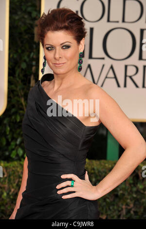 Jan. 15, 2012 - Beverly Hills, California, U.S. - DEBRA MESSING arrives on the red carpet wearing 'Monique Lhuillier' - Stock Photo