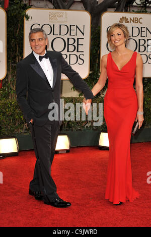 Jan. 15, 2012 - Beverly Hills, California, U.S. - GEORGE CLOONEY and STACY KEIBLER arrives on the red carpet for - Stock Photo