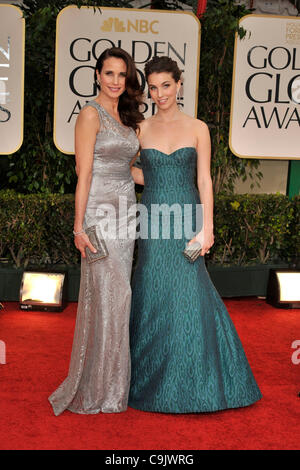 Jan. 15, 2012 - Beverly Hills, California, U.S. - ANDIE MACDOWELL and RAINEY QUALLEY arrives on the red carpet for - Stock Photo