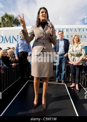 Jan.19, 2012 - Charleston, SC, USA -  South Carolina Governor Nikki Haley introduces Mitt Romney during a campaign - Stock Photo