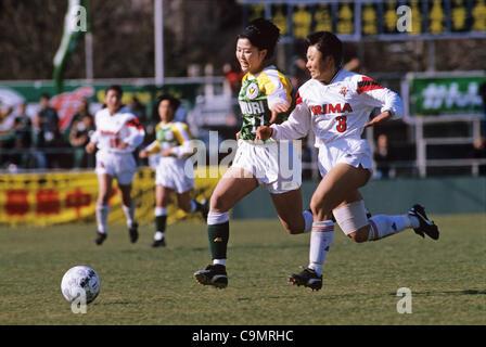 Nami Otake (Beleza), Yumi Umeoka (Kunoichi), MARCH 27, 1994 - Football / Soccer : 15th All Japan Women's Football - Stock Photo